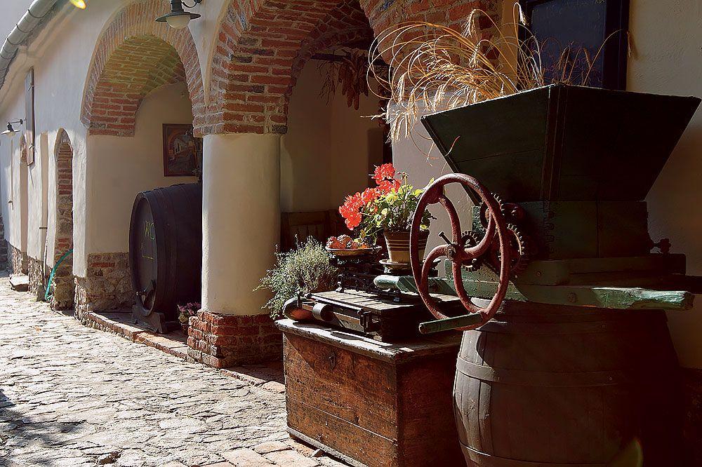 Cez otvorenú stáročnú bránu sme vykročili na kamennú dlažbu, potešili sa pohľadom na zachované hospodárske náčinie. Sú z nich výtvarné objekty a miesta pre sezónne aranžmá pani Žofiakovej pochádzajúceho z bratislavského Design House.