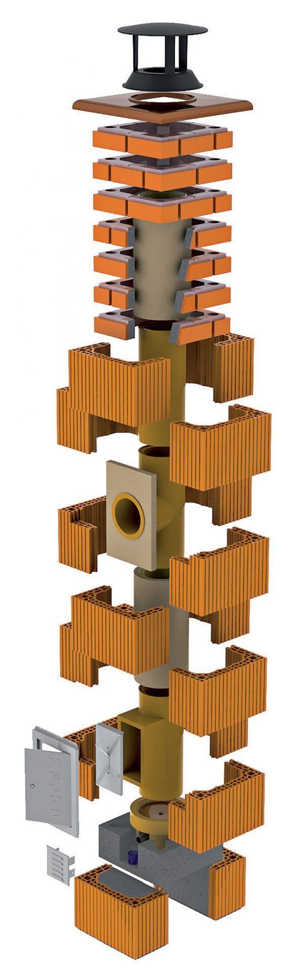 Tehlový komín s klasickou šamotovou vložkou na všetky palivá s prirodzeným odťahom spalín (atmosférickou prevádzkou). Na obrázku je ukončený betónovými prstencami.