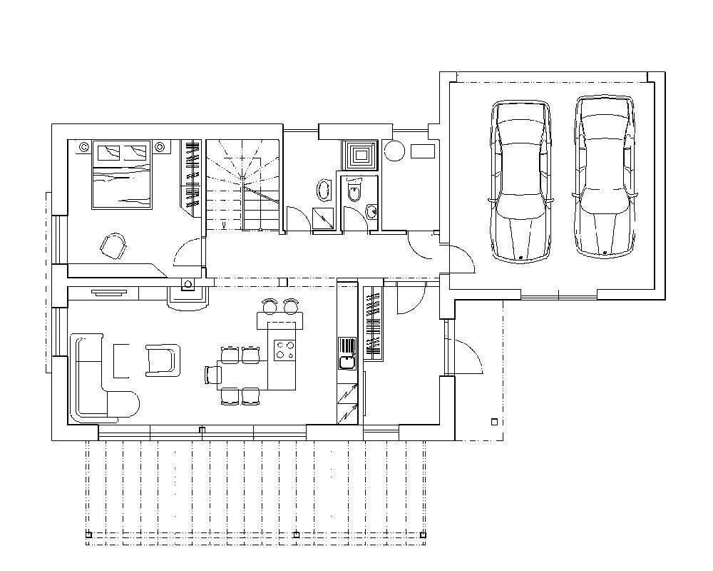 Nepodpivničený dvojpodlažný dom s rozmermi 11,5 × 9 m a s garážou 6 × 10,5 m vyjde zhruba na 200-tisíc € pri dodávke na kľúč.