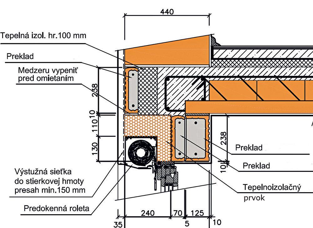 Osadenie roletového prekladu s vonkajšou roletou do steny s hrúbkou muriva 440 mm