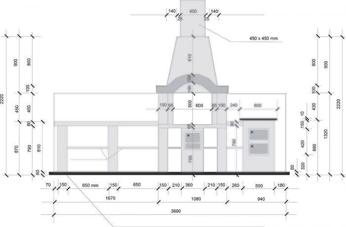Záhradný kozub – pohľad komín 450 × 450 mm zámková dlažba s hrúbkou 60 mm položená nasucho