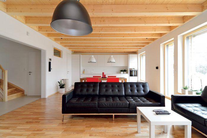 Zo vstupnej haly prechádzate cez široký otvor bez dverí do priestoru, v ktorom je obývacia izba, jedáleň aj kuchyňa.