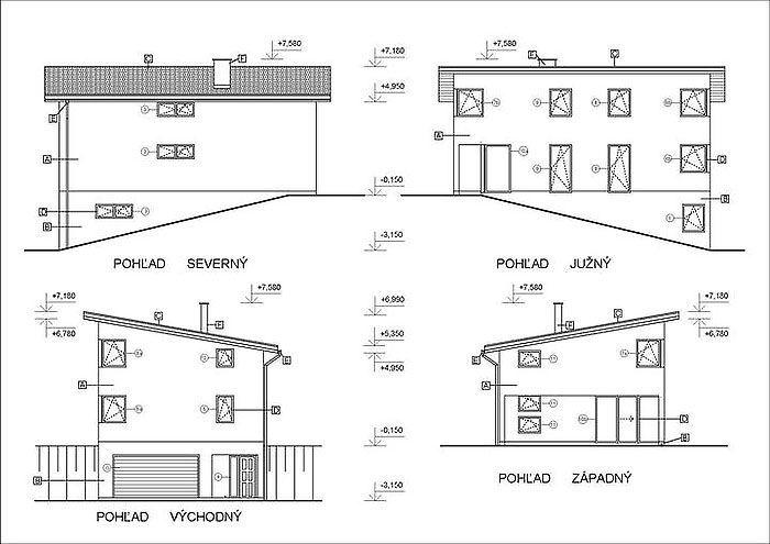 Pohľad - stavba rodinného domuz tehly v svahu