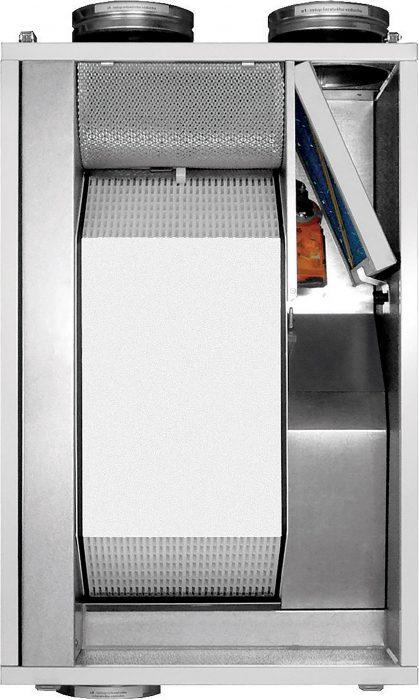 Príklad vzduchotechnickej jednotky s rekuperáciou tepla. Zariadenia tohto typu môžu mať rôzne tvary aj vnútorné usporiadanie.