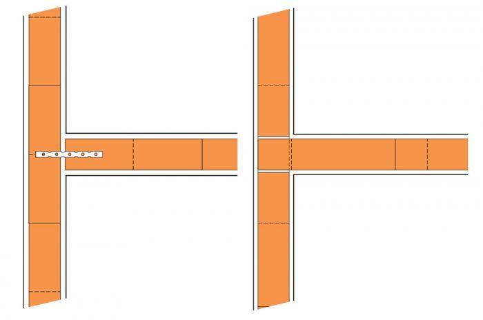 Tuhé napojenie priečky pomocou stenových spôn, styčná škára vyplnená murovacou maltou. (obr. vľavo) Tuhé napojenie priečky na väzbu, styčné škáry v mieste napojenia vyplnené murovacou maltou. (obr. vpravo)