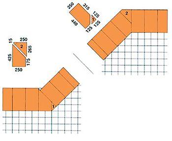 Šikmý roh (135°) a kút (225°) 440 mm - 1. vrstva