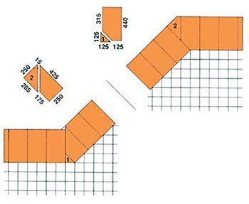 Šikmý roh (135°) a kút (225°) 440 mm - 2. vrstva