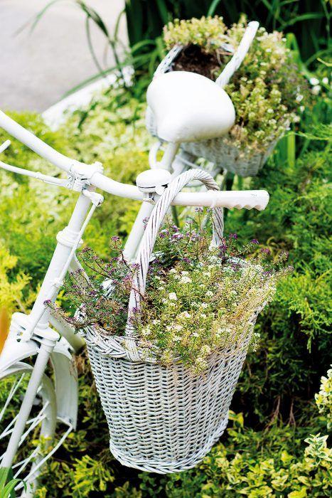 Starý bicykel. Prestriekajte ho vhodnou farbou v spreji a umiestnite do kvetinového záhona tak, aby sa nepoškodili jednotlivé rastliny. Biela pristane najmä vidieckym domom, zvoliť si však môžete aj výraznejšie farby. Biele vysadené košíky zavesené na bicykli sa stanú milým akcentom.