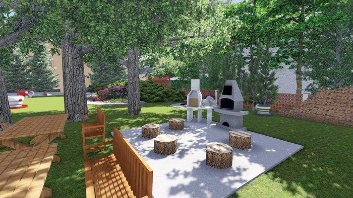 Záhradné kozuby z prefabrikátov – palivové drevo je dobré uskladňovať v dostupnej vzdialenosti.