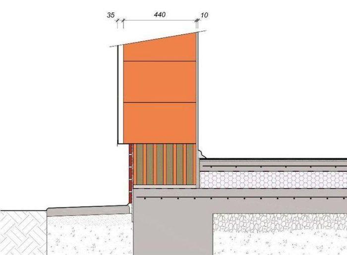 Detail pri sokli pri použití tehly plnenej izoláciou v prvom rade tehál.