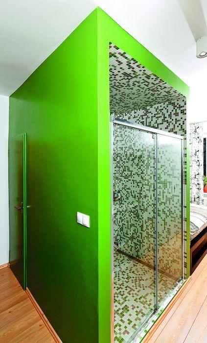 Zelená olejová farba sa ako jediná vec nepozdávala stavbárom a snažili sa majiteľku presvedčiť, že tú keď nanesú, už sa nebude dať ničím iným pretrieť. Našťastie ju nepresvedčili. Veď farba je maximálne praktická, nešpiní sa, neodiera a dá sa umyť