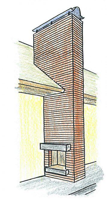 Vonkajší kozub chaty pripojený do jedného komína spolu s vnútorným kozubom tvorí závetrie.
