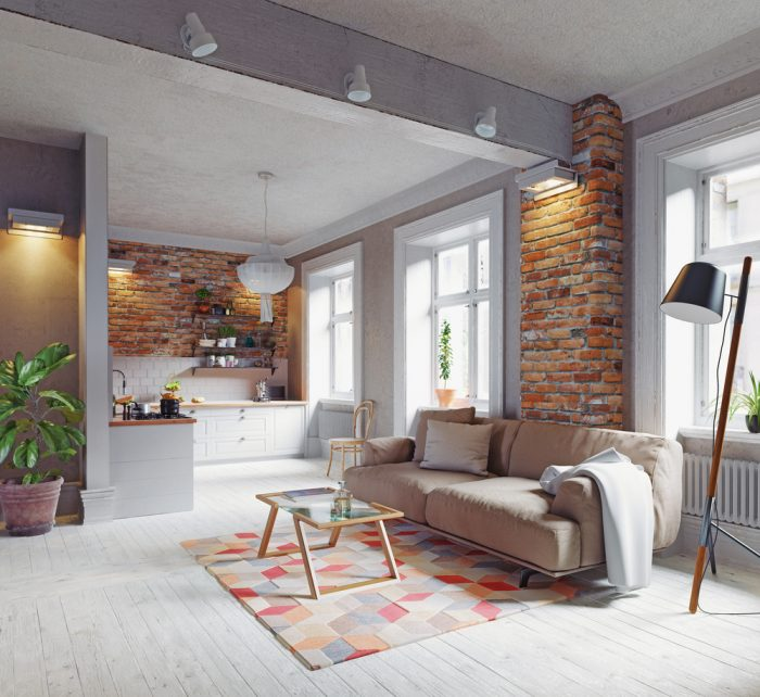 Loft v škandinávsom štýle lagom, sedačka a lícová tehla
