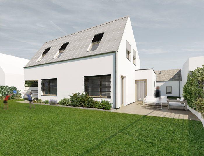 Moderný jednoduchý biely dom so sedlovou strechou a obytným podkrovím