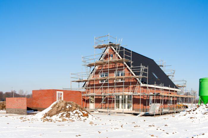 brick house in winter