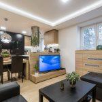 obývačka s kuchyňou a televízorom